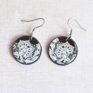 Earrings Lace white on black background
