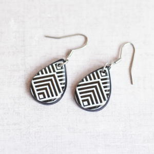 Earrings Black and White Pattern