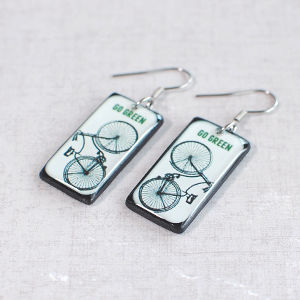 Earrings Bike Go Green