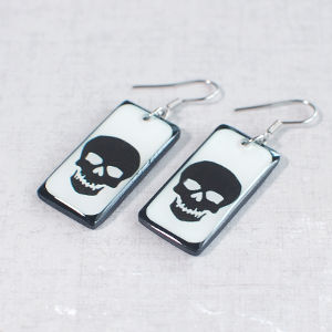 Earrings Skull 1 white