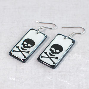 Earrings Skull 2 white