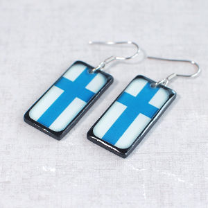 Earrings Finnish Flag