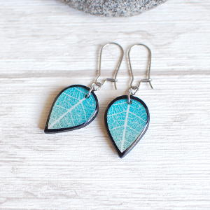 Double Sided Earrings Leaf turquoise / black