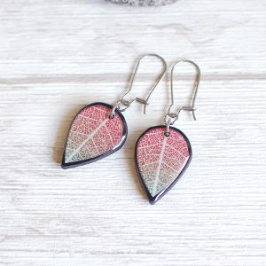 Double Sided Earrings Leaf red / black