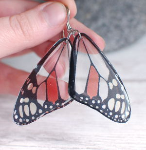 Transparent butterfly earrings gray red big