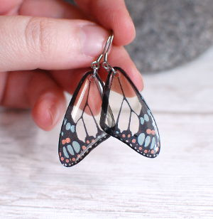Transparent butterfly earrings yellow small