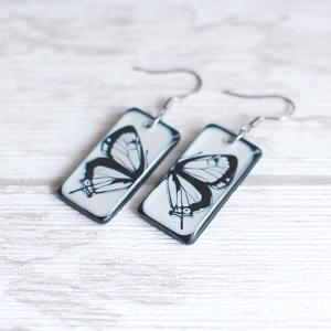 Butterfly earrings - black butterfly on white background 2