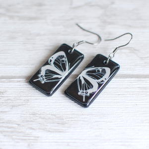 Butterfly earrings - white butterfly on black background 3