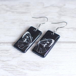 Butterfly earrings - white butterfly on black background 2
