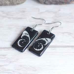 Butterfly earrings - white butterfly on black background 1