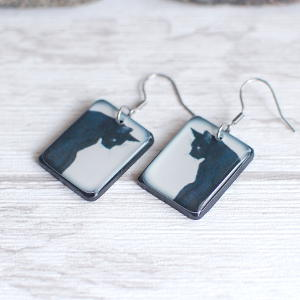 Black Cat Earrings Black on white background 2