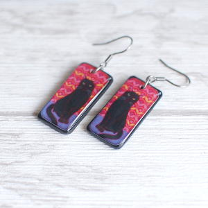 Black Cat Earrings Black on red background