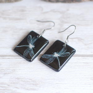 Dragonflies earrings 2 black