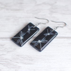 Dragonflies earrings 1 black