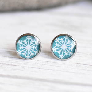 Stud earrings Snowflake on a turquoise background