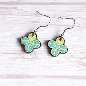 Earrings Clovers small green with yellow leave