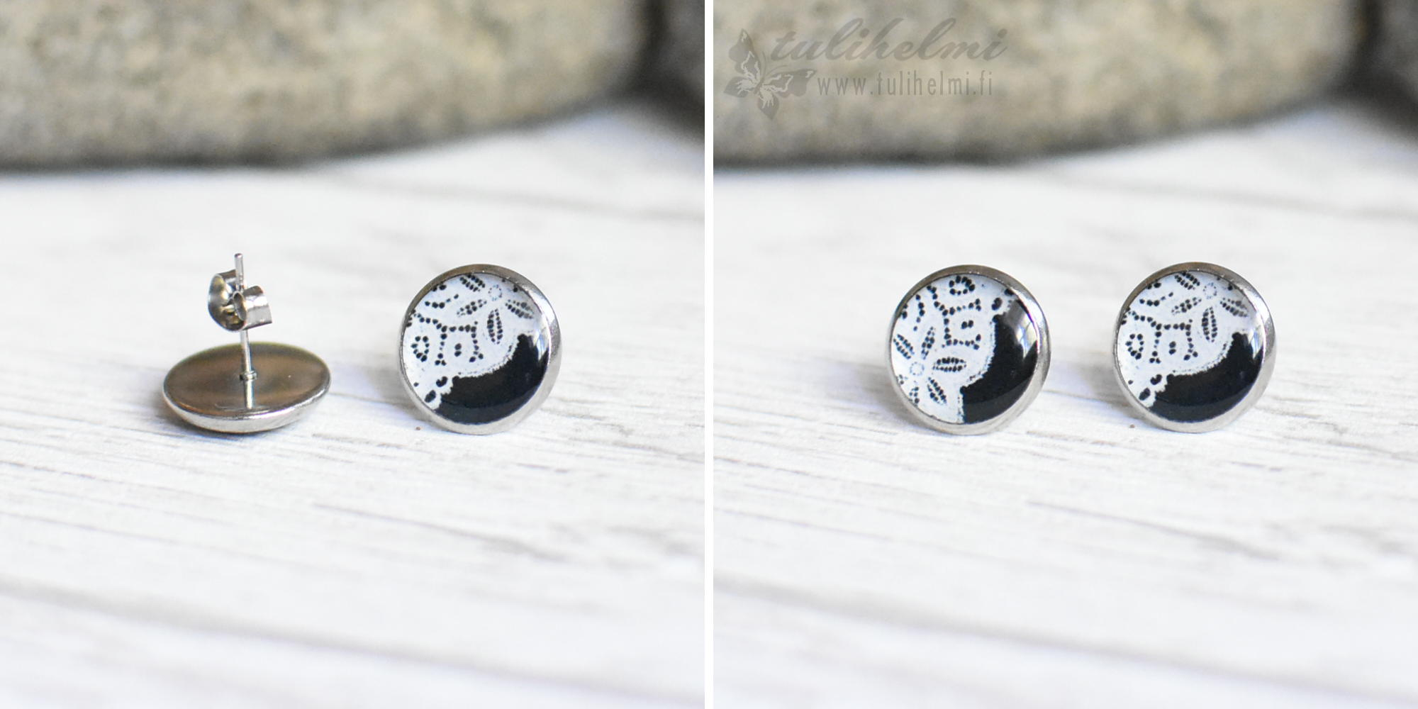 Stud earrings Lace 3 white on black background